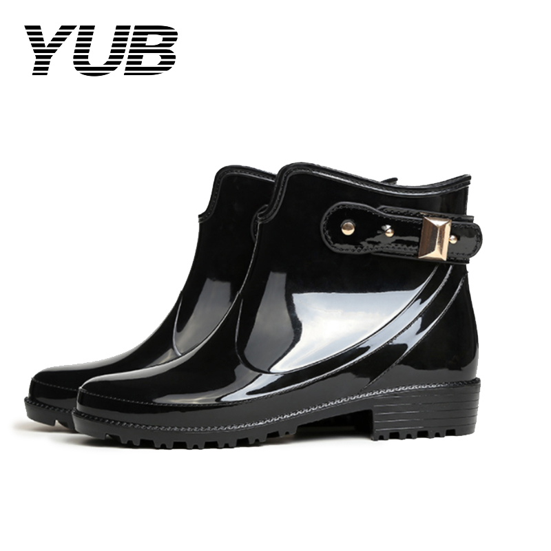 YUB Brand Women's Rain Boots with Fashion Design Elastic Band Short Ankle Boots PVC Waterproof Women Rubber Shoes Size 6-10 yub brand waterproof rain boots for women with solid color slip on winter mid calf shoes for girls