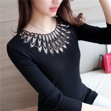 High Quality Women Sweater Turtleneck Pullover Winter Tops Solid Hollow Out Lace Sweater Autumn Female Sweater Hot Sale contrast lace solid sweater