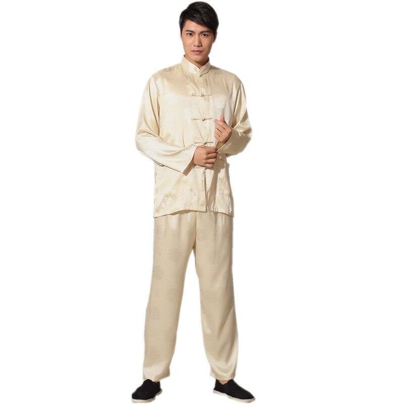 a544a3f0d الجديدة الصينية التقليدية الرجال الحرير رايون الكونغ فو دعوى خمر طويلة  الأكمام تاي تشي الووشو موحدة الملابس M L XL XXL 3XL L070614