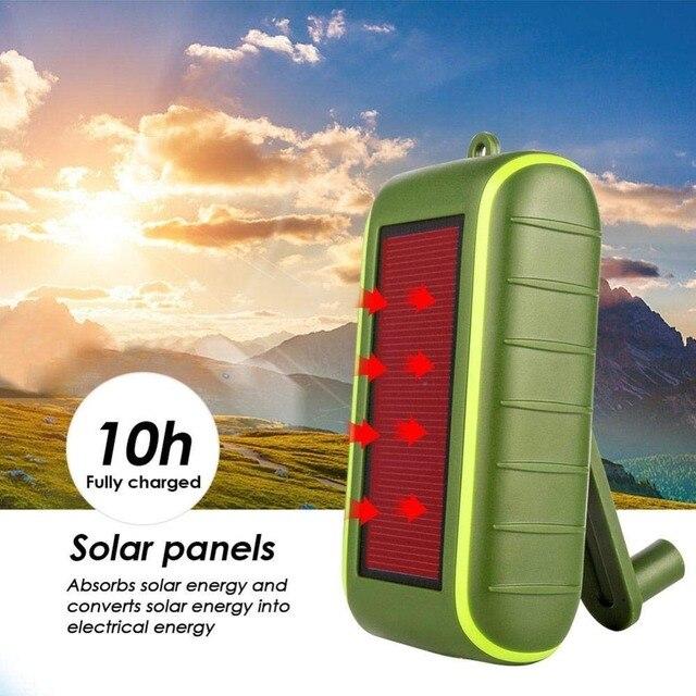 Hand Dynamo & Solar Energy Travel USB Charger portable external battery 6000mAh 8000mAh Power bank Manual Power Generation 1