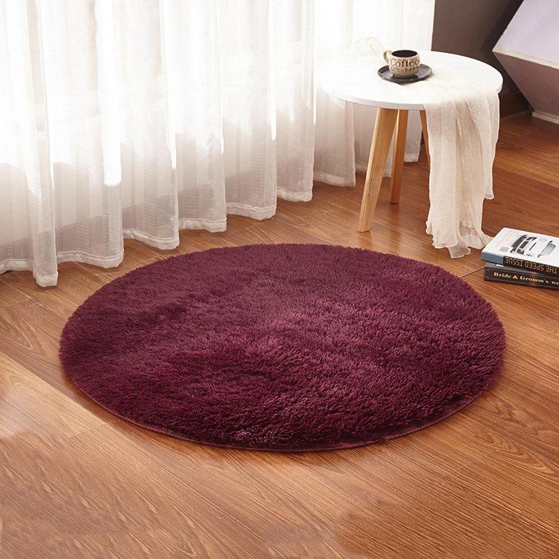 Wine Red Color Yoga Living Room Carpet Kids Room Rugs Soft and Fluffy Warm, Custom Size, Diameter 60,80,100,160cm