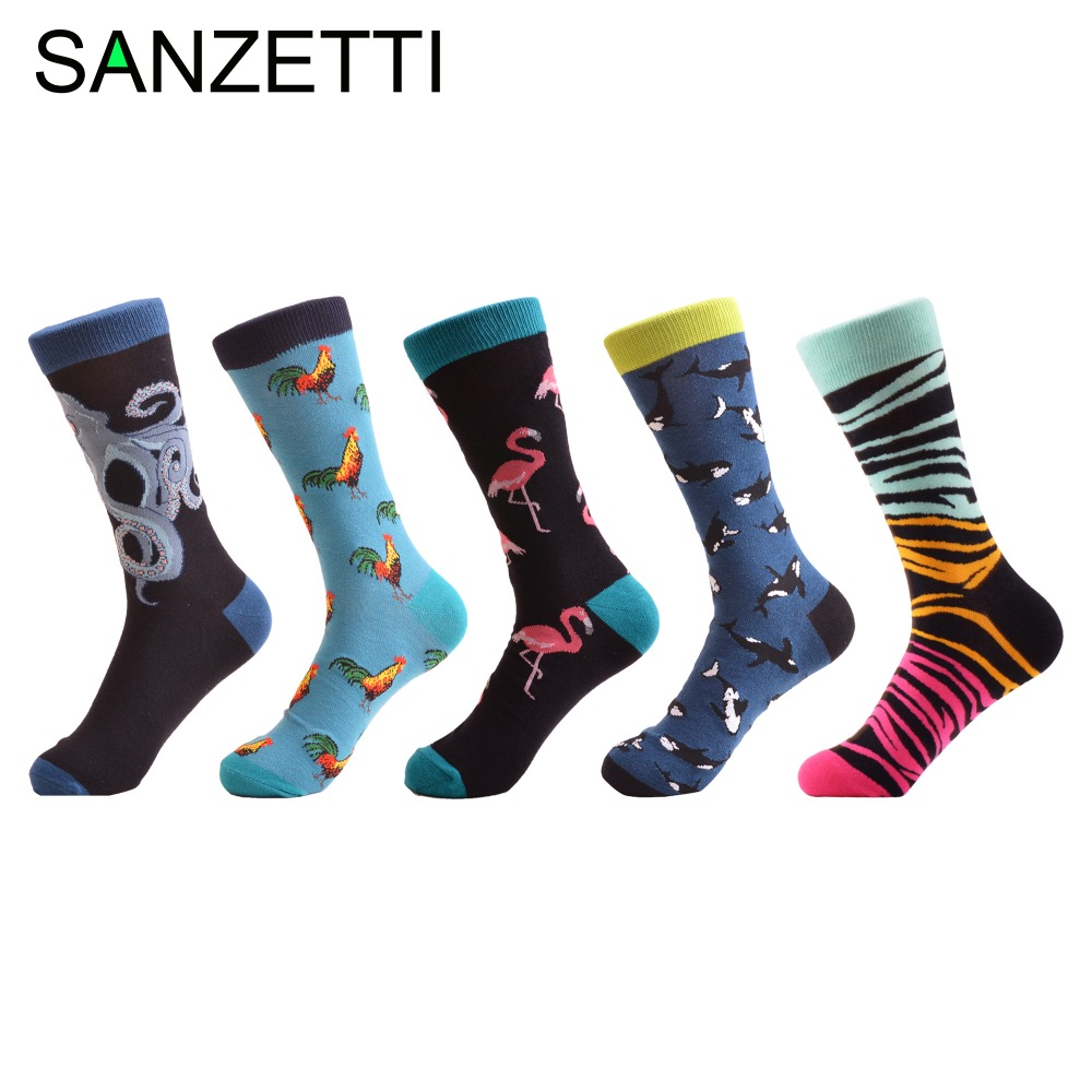 SANZETTI 5 Pairs/Lot Fashion Mens Funny Combed Cotton Brand Socks Octopus Zebra Pattern Novelty Causal Crew Dress Wedding Socks