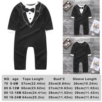 Toddler Handsome Baby Pompers Cool Boy Clothes Baby Long Sleeve Suit Infant Jumpsuit GentlemenBlack Bowknot Rompers Formal Suit 4