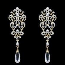 Grande de lujo Crystal Nupcial de La Boda Pendientes de Gota Cristalinos Del Rhinestone Pendientes Largos de Oro para Las Mujeres del Partido de la Joyería Pendientes ersh98