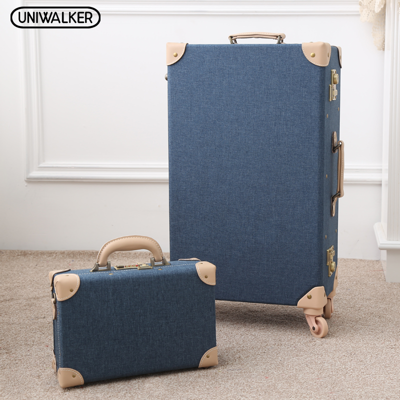 12 Mens Travel Valise 20 - 26  Women Vintage 2Pcs Luggage Sets Oxford Carry On Suitcase With Spinner Wheels