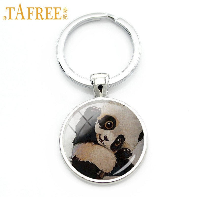 TAFREE 2017 Funny Panda Keychain Black Black Eyes Black Ears Animal Family Affection Mom's Love For Women Men Gift Jewelry A317