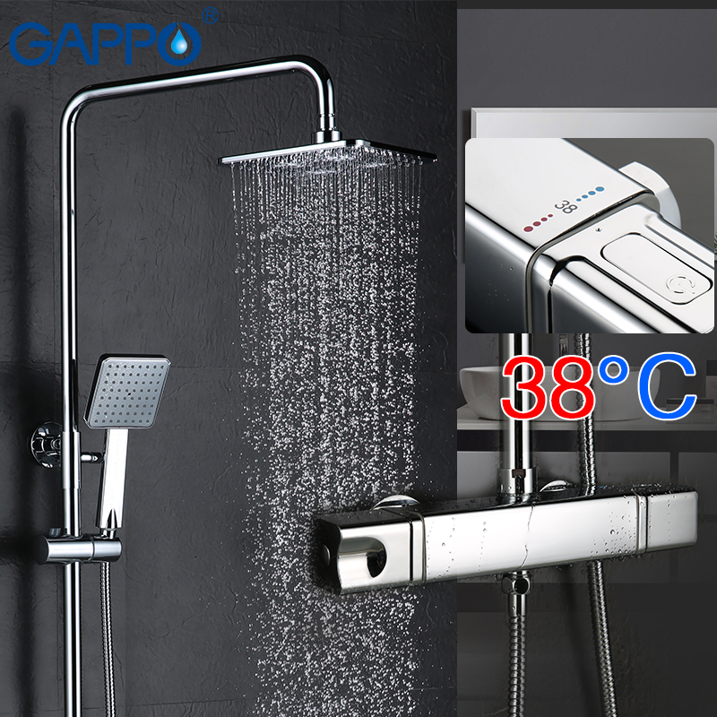 GAPPO bathtub shower faucet mixer tap bathroom thermostat faucet waterfall wall mount thermostatic shower bath mixer faucets tap dual handle thermostatic faucet mixer tap copper shower faucet thermostatic mixing valve bathroom wall mounted shower faucets