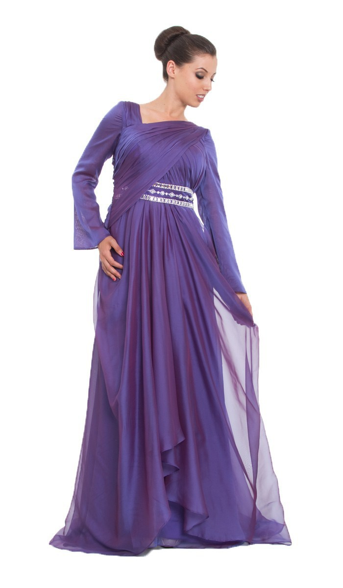 Cecelle  Muslim Burgundy Islamic Modest Evening Dresses Hijab Wraps Long Sleeves Ruched Chiffon Women Prom Party Dresses In Evening Dresses From