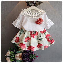 2017 New 2pcs Cute Fashion Flower Toddler Kids Baby Girls Tops+Floral Skirt Dress Party Wedding Clothes Sets Outfits Clothes