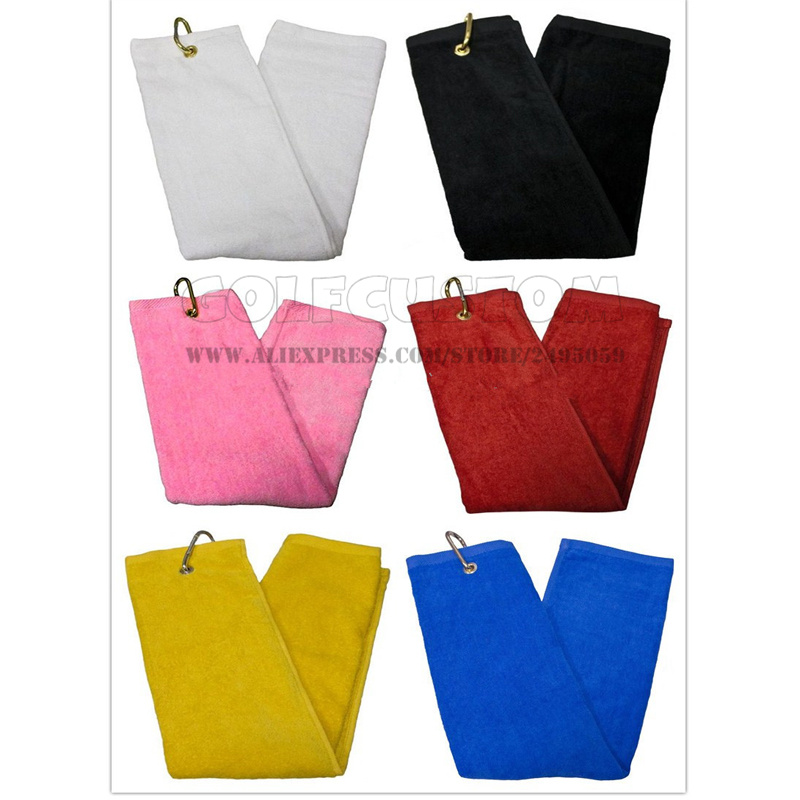 Custom Logo colors Cotton Golf Towel cotton logo embroidered or plain logo Sports Towels with metal grommet and hook 100pcs/lot