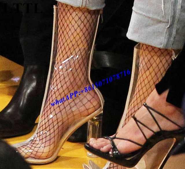 17c1933d408 Nude Peep Toe Clear Perspex Heel Rain Ankle Boots Sexy Lady PVC Crystal  Transparent Block Heel Boots Women Gladiator Boots