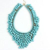 Unique Semi precious Stone Pendant Choker Necklace Chunky Synthetic Stone Handmade Tassel Choker Collar India Women Jewelry