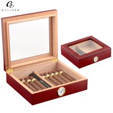 Cedar Wood Travel Cigar Humidor Box With Humidifier Hygrometer Humidor Cigar Box Case Humidors Fit 20-30 COHIBA Cigars(China)