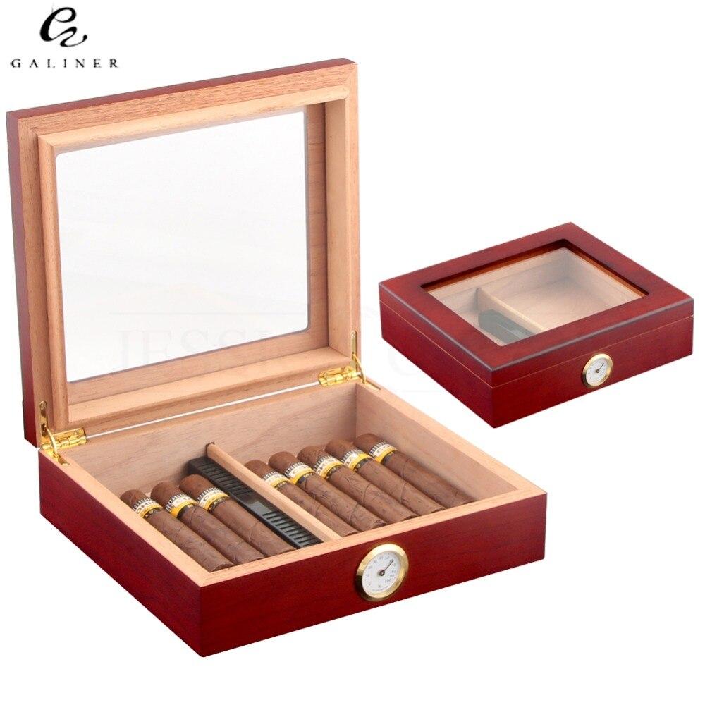 Zeder Holz Reise Zigarre Humidor Box Mit Befeuchter Hygrometer Humidor Zigarre Box Fall Humidore Fit 20-30 COHIBA Zigarren