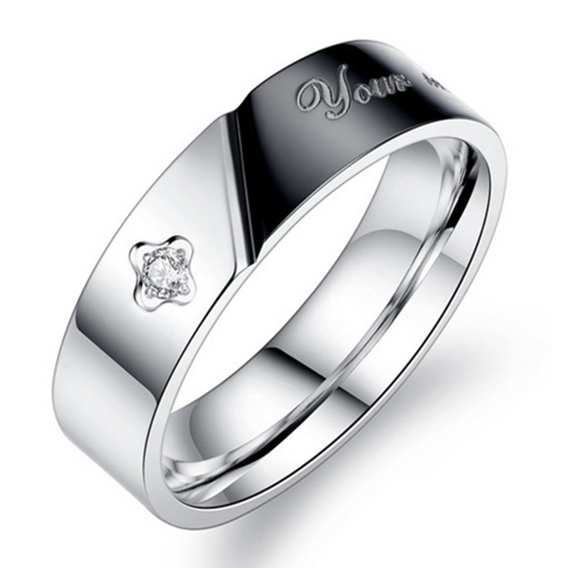 New fashion English letters Ring Exquisite Cubic Zircon crystal ring men and women couple rings titanium steel ring wholesale