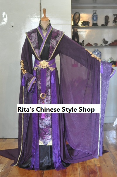 Purple Wide Sleeve Costume Hanfu for Childe or Prince Tailed Stage Performance Costume Hanfu for Men