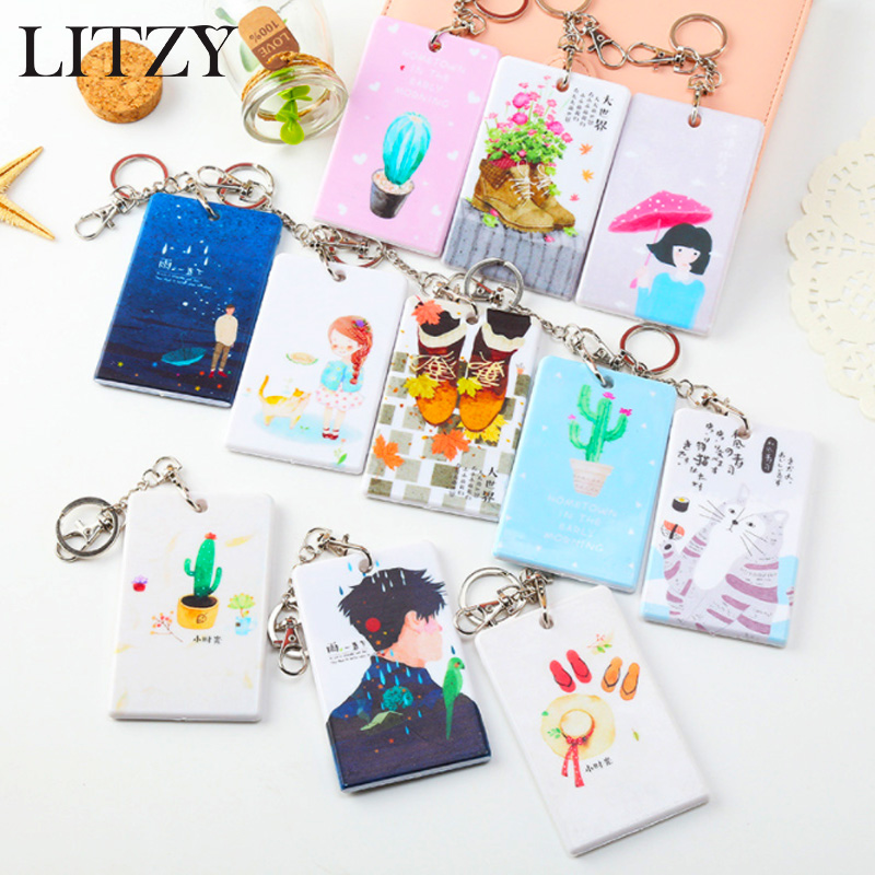 1PCS Cactus ID Badge Card Holder Business Security Pass Tag Holder With Keychain Bank Credit ID Badge Holders Accessories