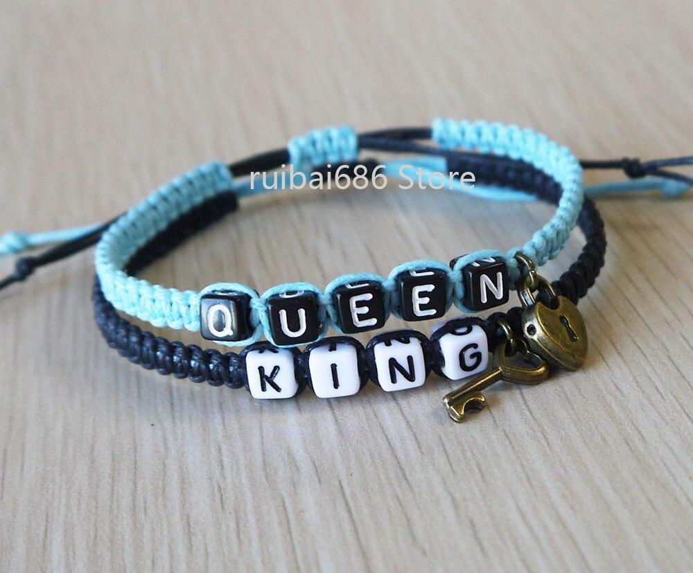 König Königin Paare Armbänder Set und Ihn Tastensperre Armband ...