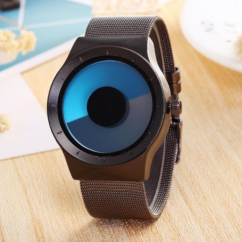 Luxury Brand Creative Unisex Concept Wrist Watches Mesh Watchband Mens Watch Fashion Stainless Steel Quartz Clock Males Gifts