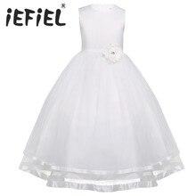 IEFiEL nastoletnich dzieci dziewczyny bez rękawów warstwami Tulle Flower Girl Dress księżniczka korowód suknia ślubna suknia dla druhny sukienka na imprezę