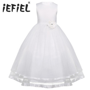 Image 1 - iEFiEL Teenage Kids Girls Sleeveless Layered Tulle Flower Girl Dress Princess Pageant Wedding Bridesmaid Ball Gown Party Dress