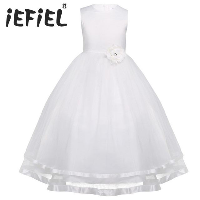 iEFiEL Teenage Kids Girls Sleeveless Layered Tulle Flower Girl Dress Princess Pageant Wedding Bridesmaid Ball Gown Party Dress