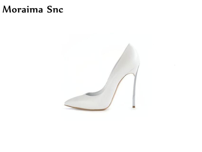 Moraima Snc metal Decoration high quality sexy pointed toe concise type shoes fashion woman pumps high heels wedding shoes