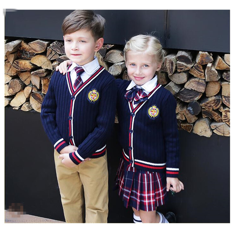 2018 School Uniforms School Children Autumn Clothing Cardigan Sweater Costume Cotton Suit Boys Girls V-neck School Uniform 2-10T