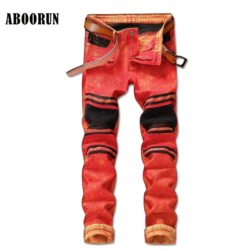 ABOORUN New Mens Slim Red Biker Motor Jeans Knee Zippers Patchwork Straight fit Jeans Brand Clothes YC1163