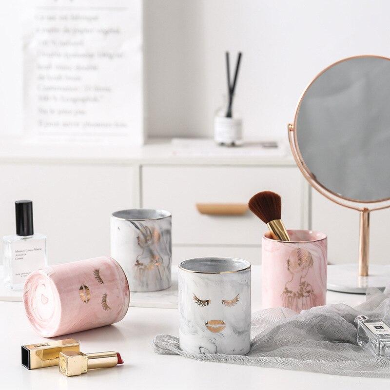 Desk-Organizer Makeup-Brush-Holder Ceramic-Pen-Holder Pencil-Cup Marble Texture SLC88