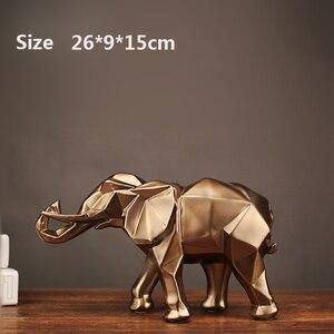 Image 3 - Geométrico abstrato elefante dourado estátua resina animal artesanato retro casa decoração elefante escultura decorações presente criativo