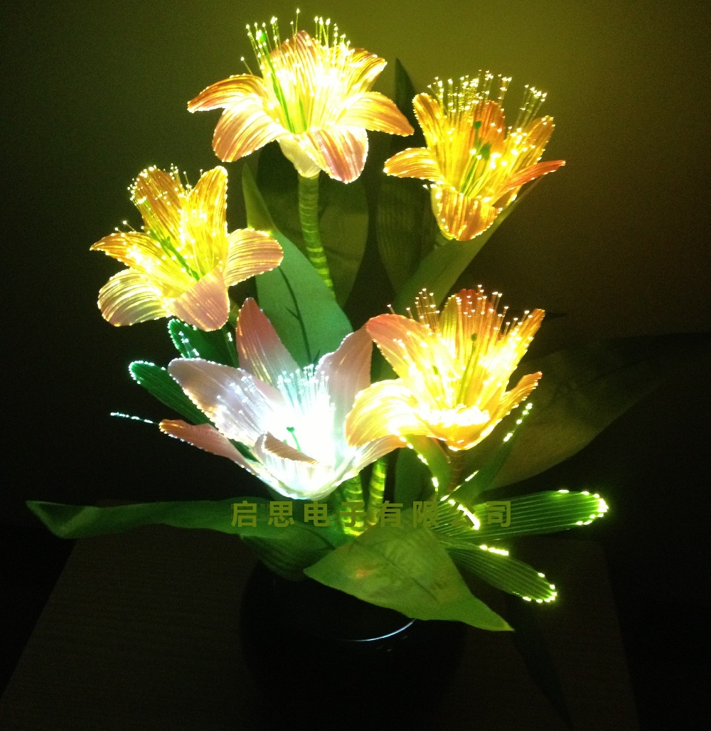 Fibre optic christmas flowers and xmas flowers - Newest Dynamic Fairy Lily Wedding Decoration Led Novelty Artistic Optical Fiber Flower Christmas New Year Party