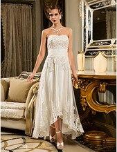 Best Sale Beach Wedding Dress Ivory / Champagne Asymmetrical Strapless Tulle Plus Size Robe De Mariage for Women