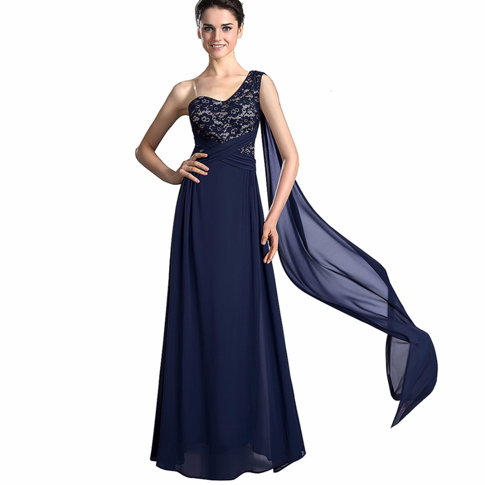 Women Vintage Sleeveless Party Wear Elegant One Shoulder Lace Long Maxi Dress For Special Occasion EA023