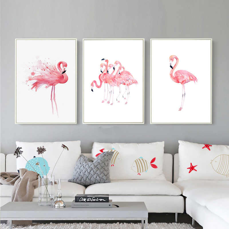 Nordic Pink Flamingos Series LOVE Bird Poster Wall Art Watercolor Minimalist Modular Pictures Canvas Painting Prints Kids Room