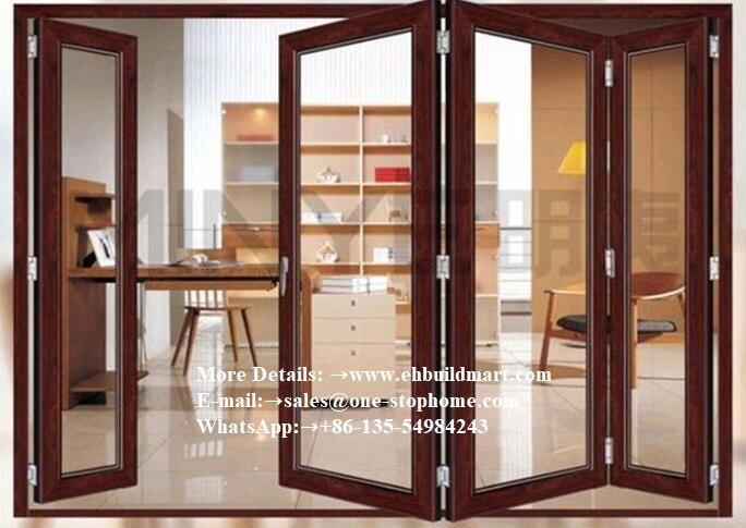 Porte d'entrée, porte de panneau, intérieur de portes, porte en verre coulissante, diviseurs extérieurs insonorisés porte pliante, portes françaises en aluminium à deux volets