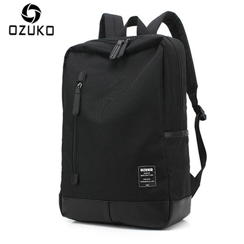 OZUKO 2017 New Style Men's Canvas Backpack Fashion College Student Bag For Teenagers Male Laptop Mochila Casual Travel Rucksacks 2016 new style canvas leather patchwork fashion student school stachel book 15 inch travel shopping laptop computer backpack bag