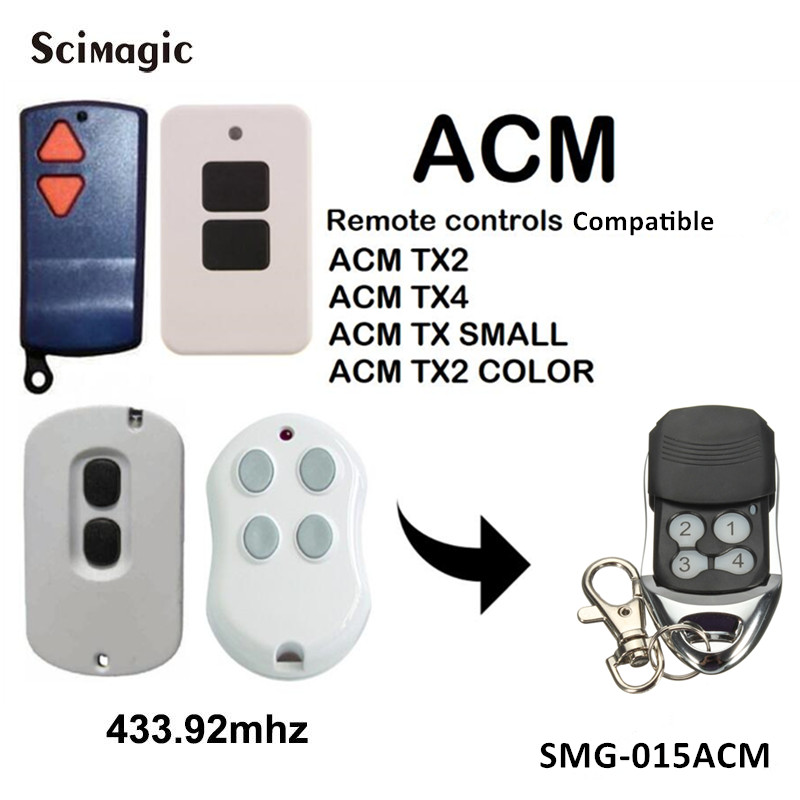 ACM TX2 / TX4 Remote Control Replacement ACM TX SMALL / TX2 COLOR Garage Door Opener 433.92mhz Handheld Transmitter Key Fob