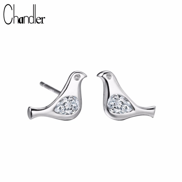 4824ce80a Chandler 925 Sterling Silver Pigeon Bird Stud Earrings For Women With Clear  White Crystal Piercing Anti