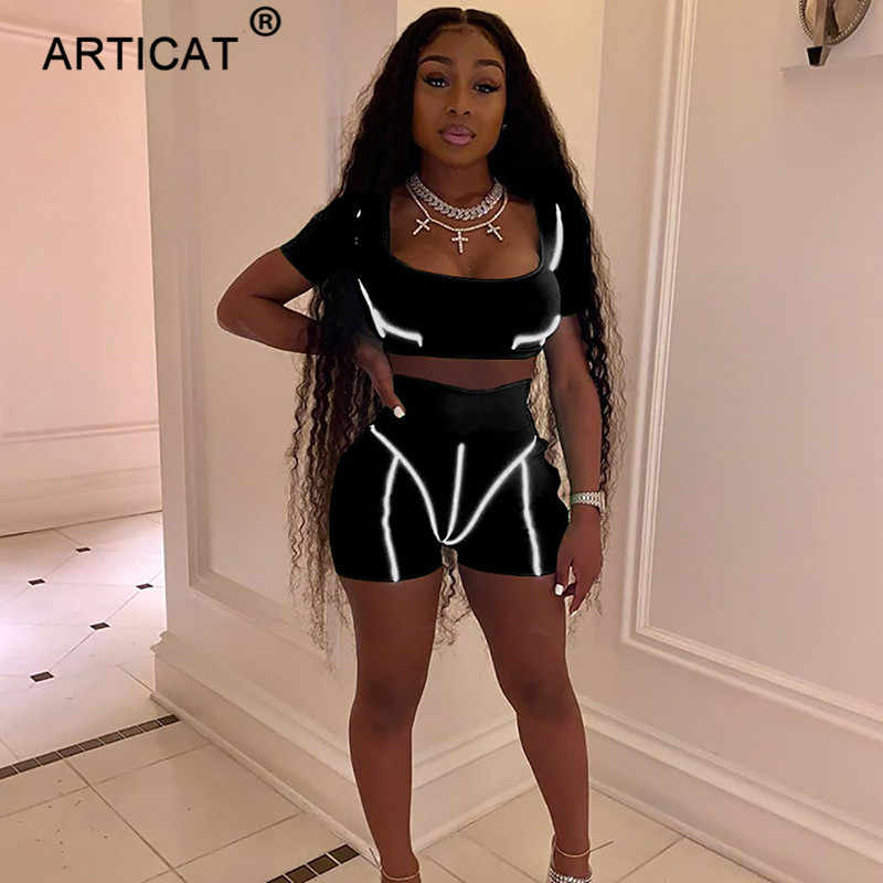 Articat Two Piece Women Skinny Jumpsuit Reflective Striped Patchwork Fitness Rompers Womens Jumpsuit Party Short Club Outfits
