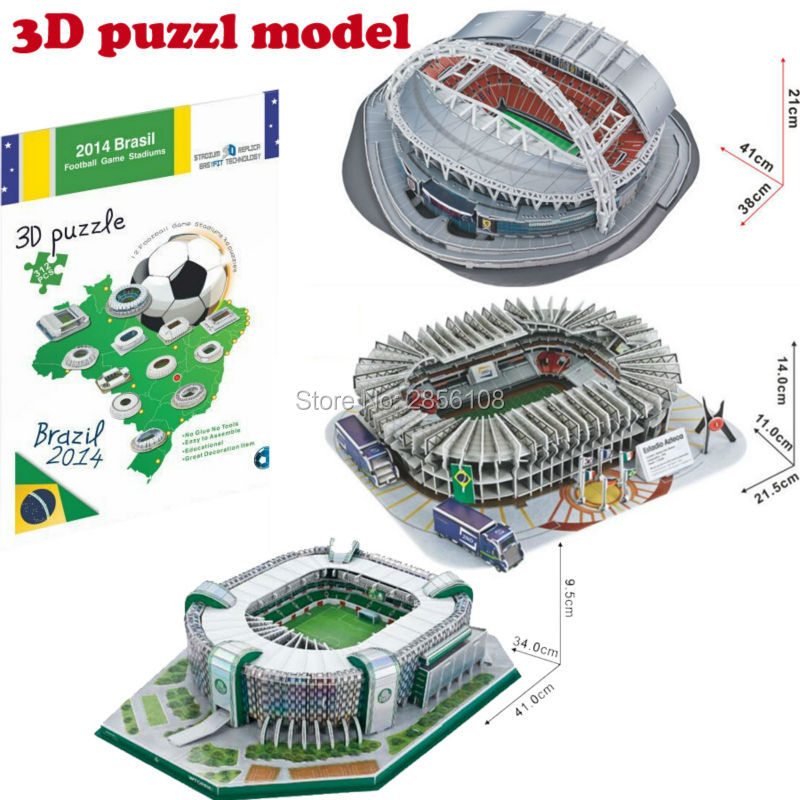 3D Puzzle  Football Game Stadiums Model Architecture Jigsaw Puzzle Diy Paper Educational Puzzle Toys For Children,4 Styles