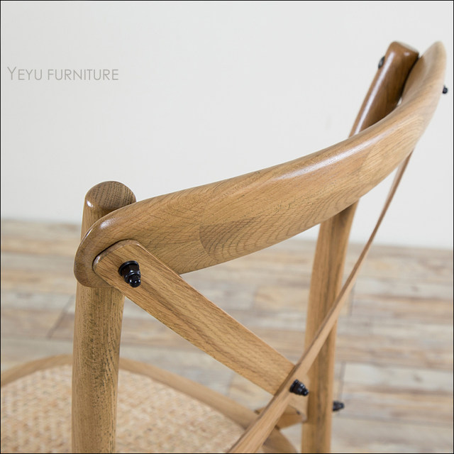 Modern Design American Country Style Solid Oak Wood Classic Cross Chair,  Antique Seat Weaved White Oak Wooden Cross Dining Chair