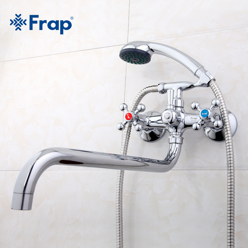 Frap Wall Mounted Shower Set Hand Shower Bathroom Double Handle Dual Hole Shower Faucet With 36cm Nose F2619