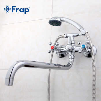 Frap Wall mounted shower set hand shower bathroom double handle dual hole shower faucet with 36cm nose F2619 - DISCOUNT ITEM  45% OFF All Category