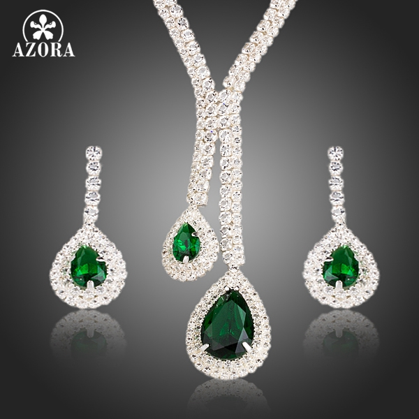 AZORA White Gold Color Poem of Spring Top quality Cubic Zirconia Bridal Jewelry Sets TG0133 poem