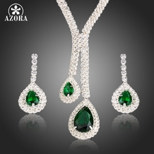 AZORA White Gold Color Poem of Spring Top quality Cubic Zirconia Bridal Jewelry Sets TG0133