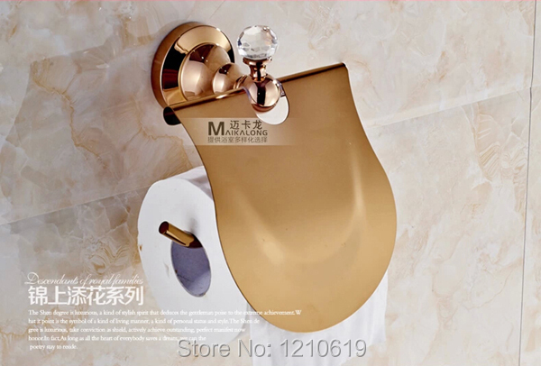 Newly US Luxury Toilet Paper Holder Rose Golden Polished Roll Tissue Rack With Cover Wall Mounted