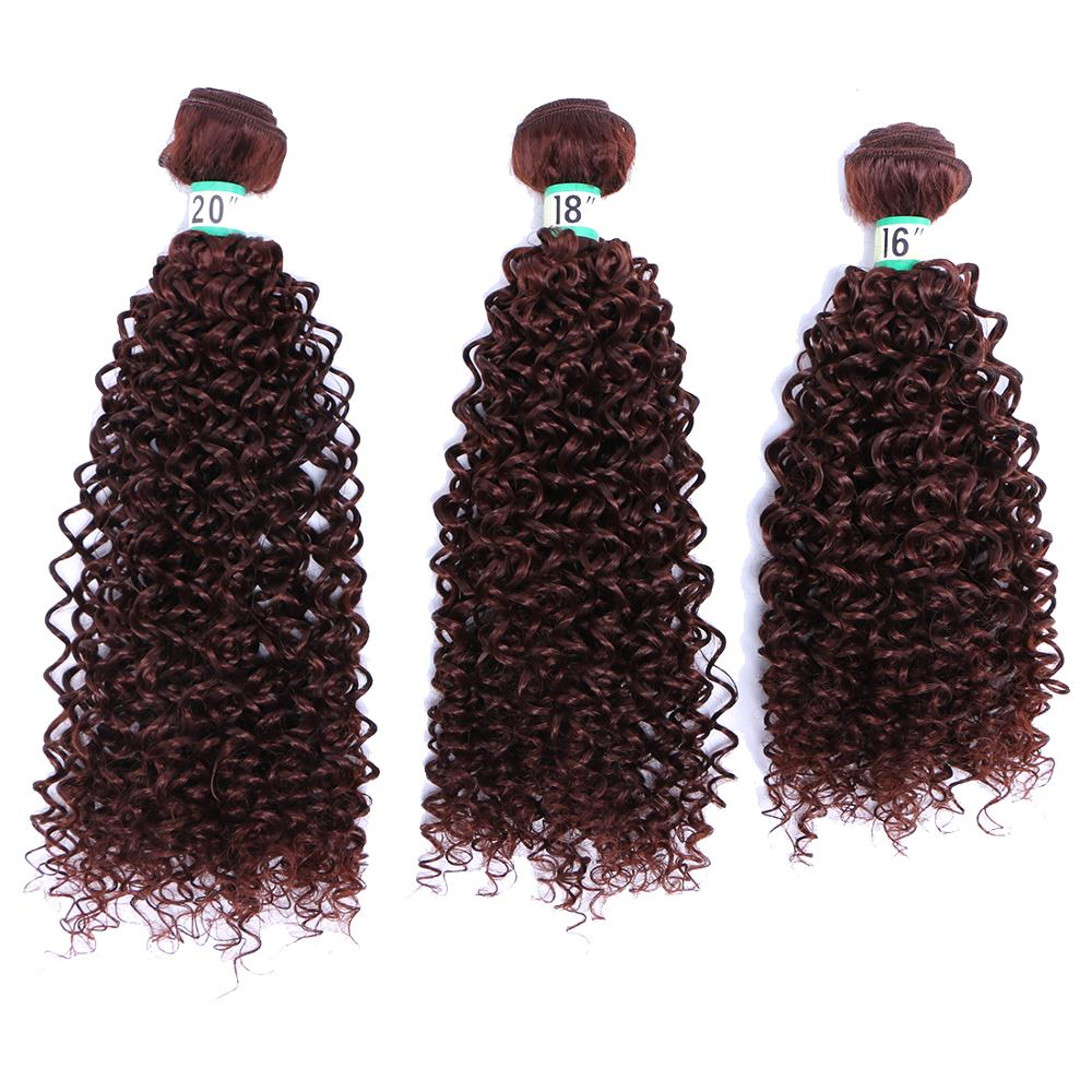 2 Pcs/lot Synthetic High Temperature Fiber Hair Weave Kinky Curly Hair Bundles brown color hair extension(China)
