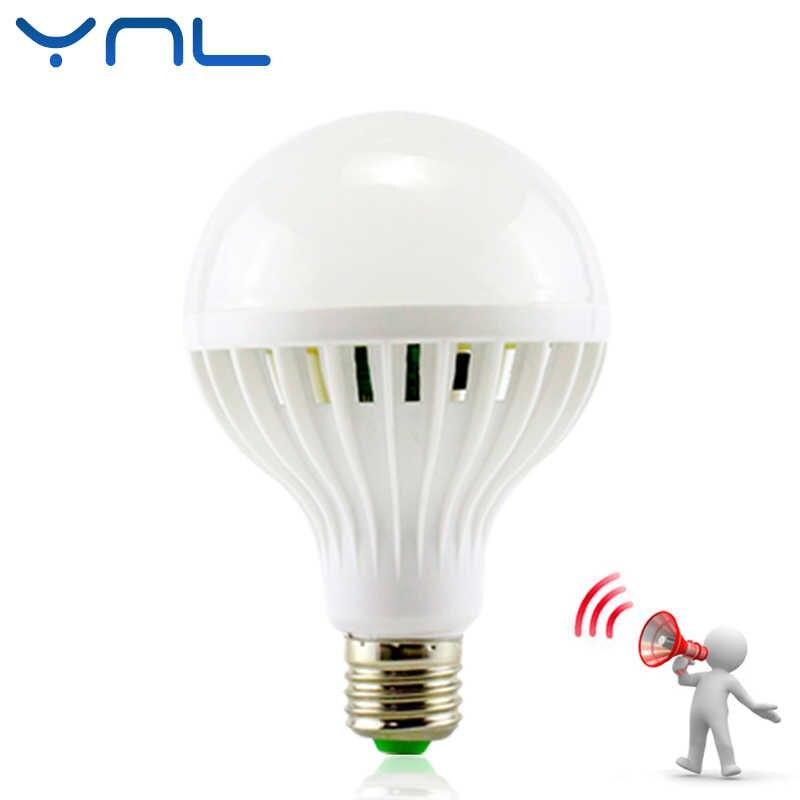 СВЕТОДИОДНАЯ Лампа PIR инфракрасный датчик движения/звук + Датчик света управление E27 3 Вт 5 Вт 7 Вт 9 Вт 12 Вт автоматический умный датчик белая лампада Светодиодная лампа