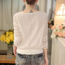 2017 Autumn hot sale new arrival spring and autumn fashion women  V-neck blouse long sleeve lace slim female shirt 9932